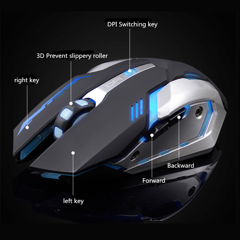 Gaming Optical Mouse USB Wireless/Wired Computer Laptop Colorful Backlit Mouse Positioning Accuracy Rechargeable Lithium Battery 3