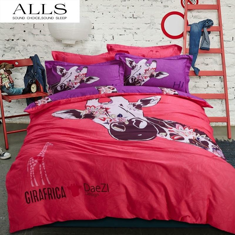 Achetez en gros rouge couvre lit en ligne des grossistes rouge couvre lit c - Housse de couette girafe ...