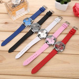 FD Mickey Pattern Ladies Wristwatch Crystal Hollow Casual Kids Women Watches Leather Quartz Clock relogio feminine zegarek damsk