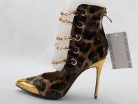 Лидер продаж Женская обувь Острый носок Золото Toe Золотой Цепи вырезает молния Назад полусапожки стилет Каблучки вечерние Сапоги и ботинки