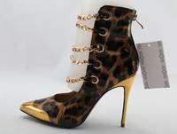 Hot Women Leopard Pointed Toe Gold Toe Gold Chains Cuts Out Zipper Back Short Booties Stiletto Heels Party Boots
