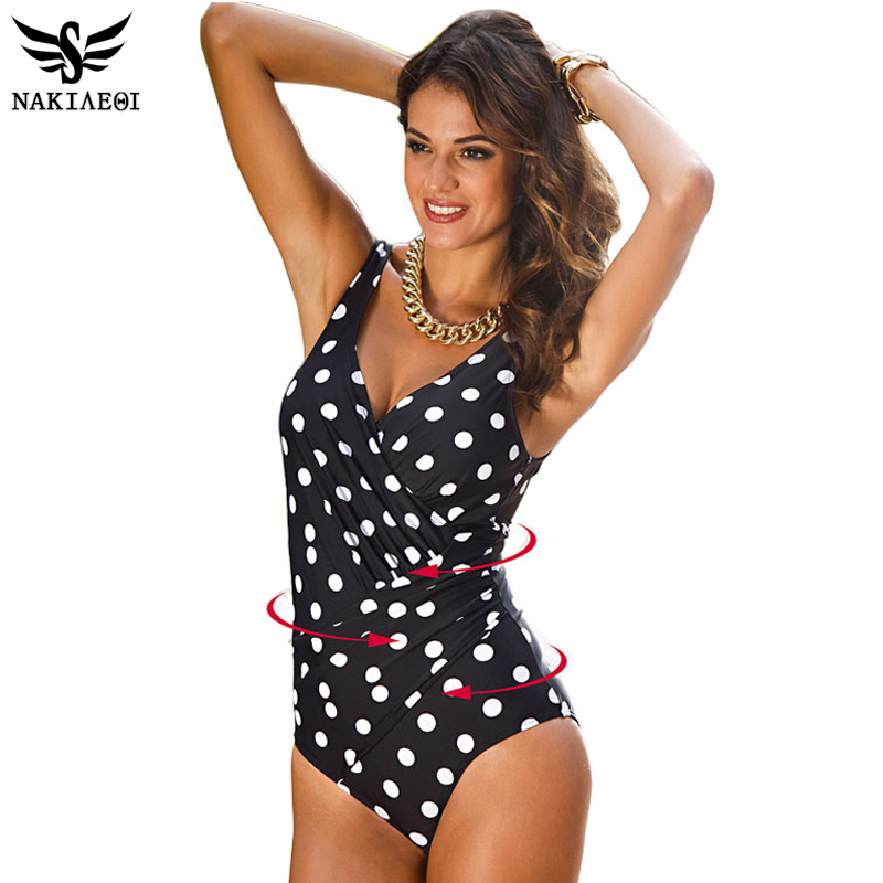 NAKIAEOI 2018 New One Piece Swimsuit Women Plus Size Swimwear Retro Vintage Bathing Suits Beachwear Print Swim Wear Monokini 4XL 1