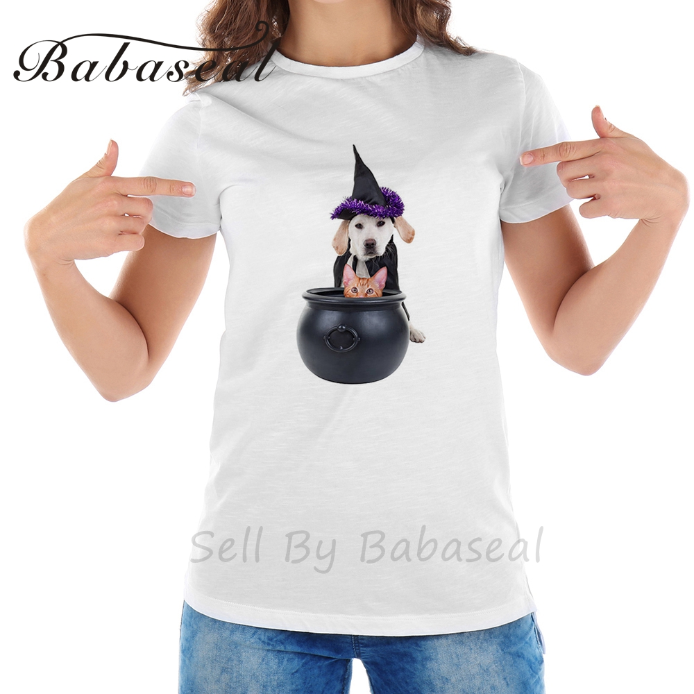 line Shop Babaseal Funny Witch Dog And Cat Designer Graphic Tees
