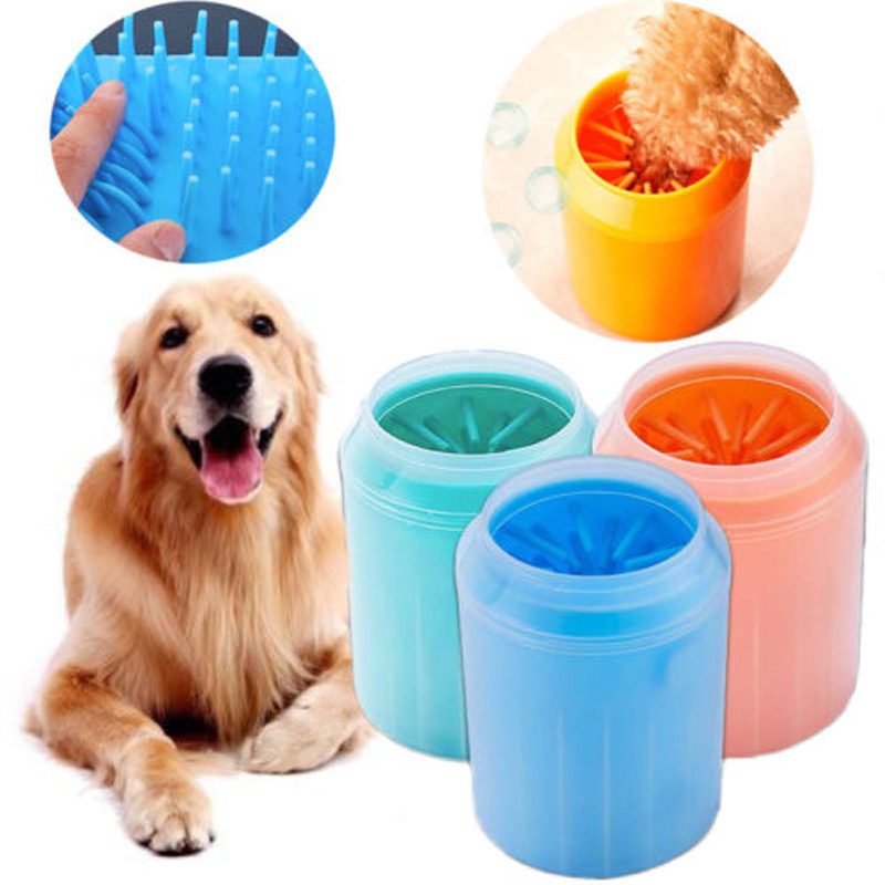Brand New Style Soft Pet <font><b>Dog</b></font> <font><b>Paw</b></font> <font><b>Cleaner</b></font> Silicone Solid Foot Cleaning Washer Brush Cup image