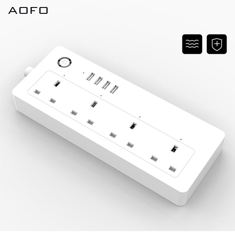 AOFO WiFi силовая полоса, стандарт Великобритании, 100 240 В, 13А, номинальная умная розетка удлинитель alexa и google home Tuya App USB - 4