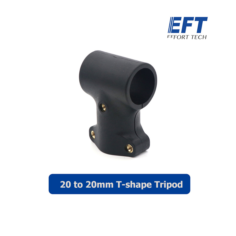 EFT 6pcsNylon D20mm Tee Joint 20 to 20mm T-shape Tripod Tee Carbon Tube Arm Three-channel Fixed Connector for RC Plant UAV Drone image