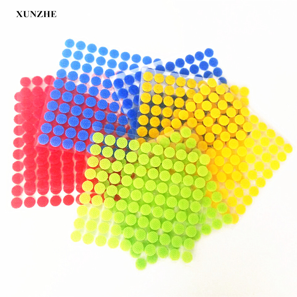 XUNZHE Home use Color 500 Pairs of Glue on Hooks and Self-Stick Loops Sticky Nylon Dot Glue waterproof fastener tape for