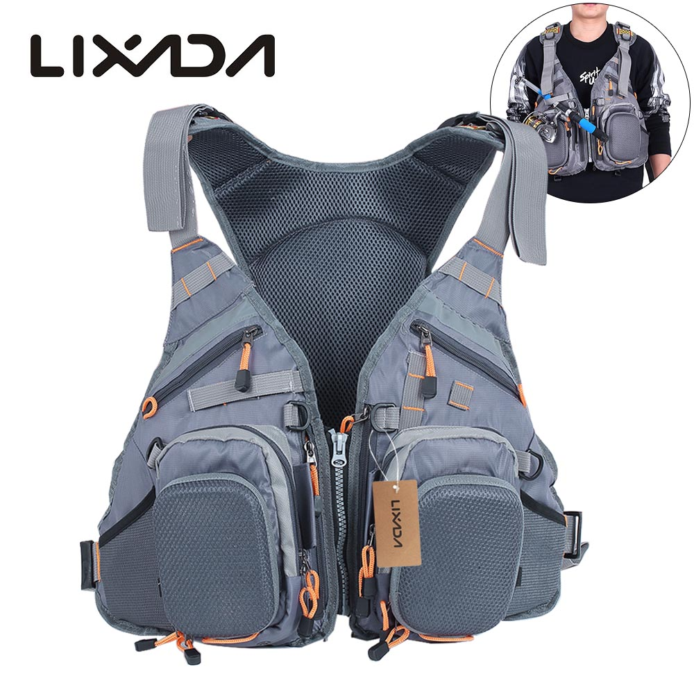 Lixada 3 In 1 Life Vest Fishing Vest and Backpack Breathable Outdoor Fishing Safety Life Jacket