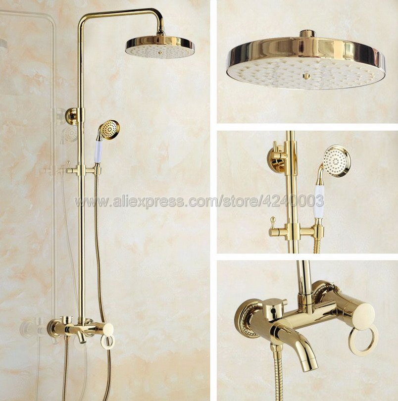 Luxury Gold Color Brass Bathroom Rain Shower Set Faucet Wall Mount Tub Mixer Tap with Handheld Shower Head Kgf415