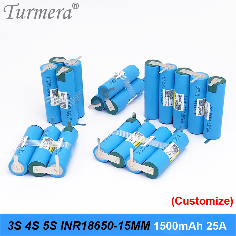 NEW 3S 12.6V 4S 16.8V 5S 18V Battery Pack INR18650-15MM 1500mah 25A Discharge Current For Shura Screwdriver Battery (customize)