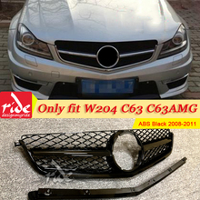 For MercedesMB C-class W204 C63AMG Look Front grill Grille ABS black Only fit C63 Style Grills Without Sign 2008-2011