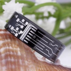 Image 4 - مجوهرات الأزياء خاتم الزفاف للنساء رجل بسيط الكلاسيكية لوحة دوائر كهربائية تصميم خاتم تنجستين أسود رجل الحب خواتم الخطبة