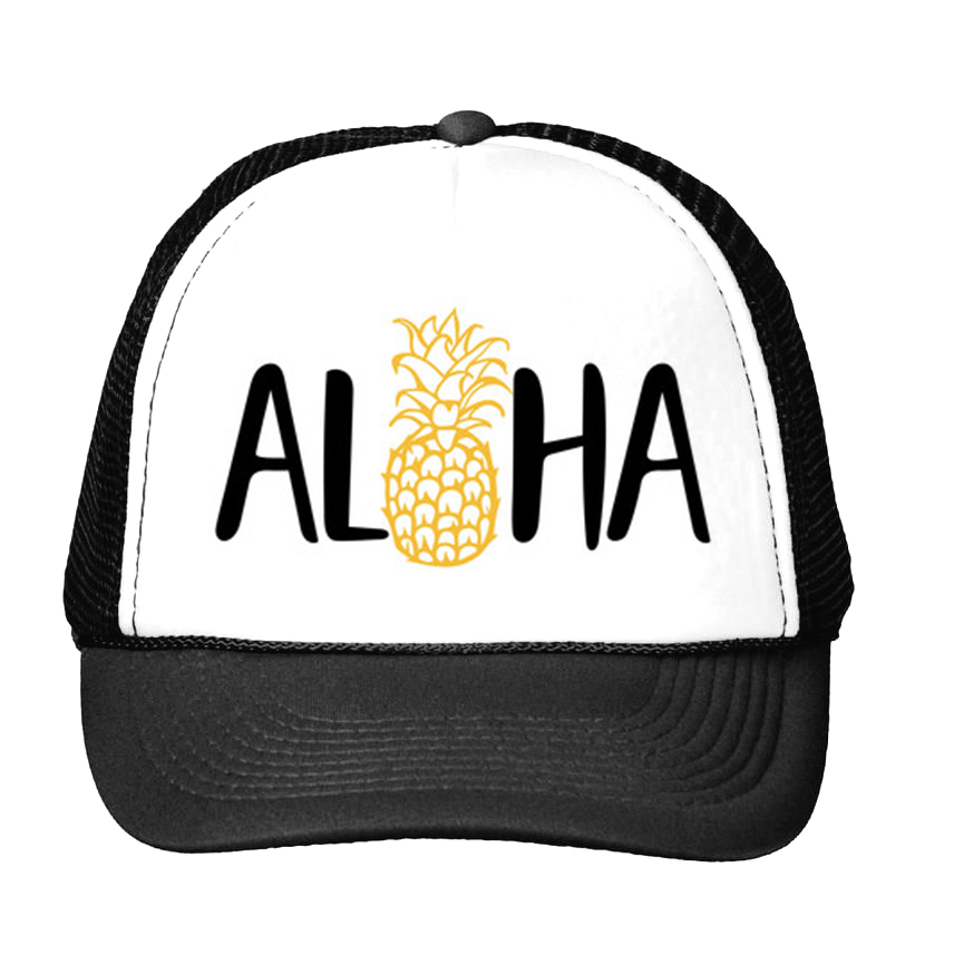 ALOHA Pineapple Print Baseball Cap Trucker Hat For Women Men Unisex Mesh Adjustable Size Tumblr Drop Ship M-109 showersmile brand sherlock holmes detective hat unisex cosplay accessories men women child two brims baseball cap deerstalker