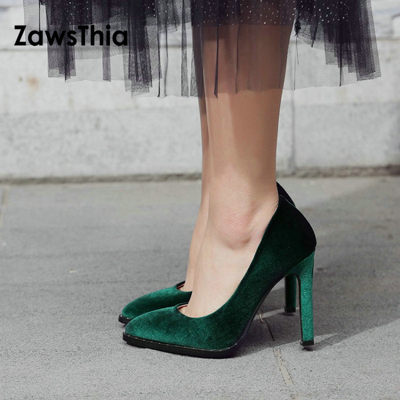 ZawsThia 2018 Velet The Newest Thin High Heels Pumps Dress Party Office Lady Pumps Pointed Toe Spring Summer Shallow Women Shoes brand women pumps high heels shoes leather spring wave point single women dress shoes thin heels pointed toe party pumps lady de