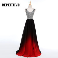 Evening Party Double V Black Elegant Long Formal Gowns Beadings Top Ever Pretty 2017 Vestido Longo