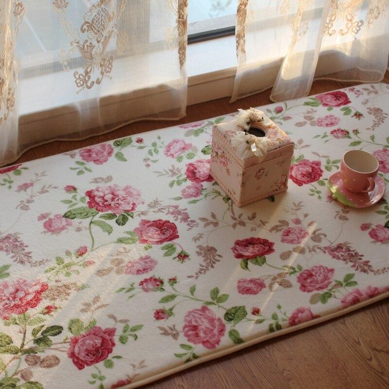 Romantic Floral Room Floor MatsSweet Rose Print Carpets For Living ModernDesigner Shabby Style Flower Rug Decorative