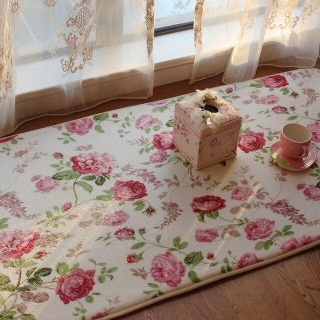 Review Romantic Floral Room Floor Mats Sweet Rose Print Carpets For Living Room Modern Designer Inspirational - Lovely rug for bedroom Amazing