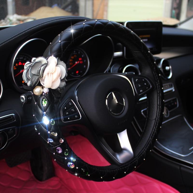 Flower Diamond Leather Universal Car Steering Wheel Cover Crystal Rhinestone Steering Cases Women Girl Styling Car Accessories