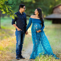 Le Couple Front Split Maternity Dress Slash Neck Pregnancy Dress Jersey Top Stretchy Lace Photography Props
