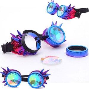 Image 3 - Kaleydoskop renkli gözlük Rave festivali parti EDM güneş gözlüğü Diffracted Lens Steampunk gözlük erkek kaynak gotik Cosplay