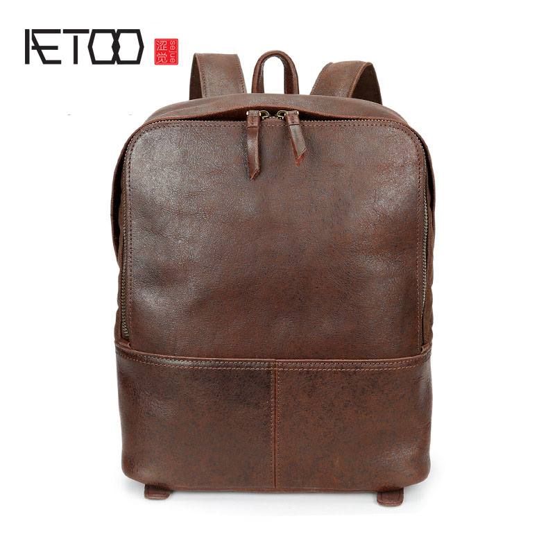 AETOO New men Genuine Leather Backpacks Vintage Style Travel Bags men laptop School Bags Backpacks Casual Backpack new gravity falls backpack casual backpacks teenagers school bag men women s student school bags travel shoulder bag laptop bags