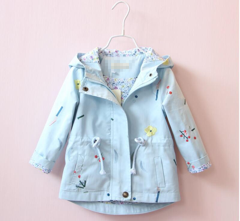 ФОТО YB31066869 Retail New 2016 Autumn Fashion Baby Girl Coat Solid Embroidery Cherry Girl Trench Hooded Casual Kids Outerwear Lolita