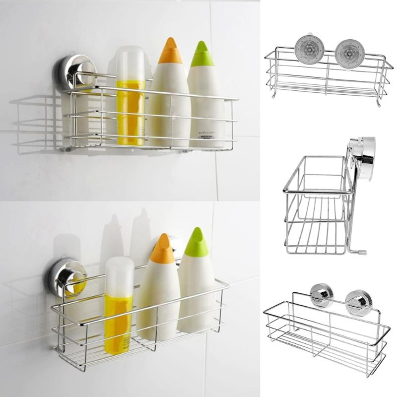 Stainless Steel Bathroom Shelves Vacuum Suction Cup Kitchen Bathroom Shelf Storage Toilet Wall Bracket Bathroom Accessories 2017