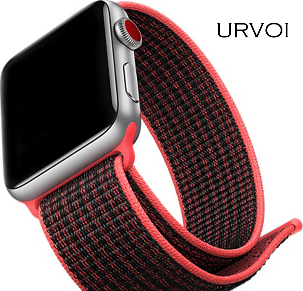 URVOI Sport loop band for NIKE+ apple watch series 3 2 1 strap for iwatch woven nylon breathabe hook-and-loop fastener 38 42mm polar loop 2 pink
