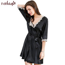 Fdfklak 2 Pcs Women Pightgown Sets Spring Summer Sexy Lingerie Women's Silk Robe Black/Wine Red Ladies Nightgown And Robe Q514(China)