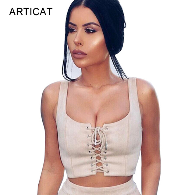 5609dab0ceb SIBYBO Suede Lace Up Crop Tops Women 2017 Sexy Criss Cross Sleeveless Cropped  Tank Top Girls Summer Backless Short Party Tops