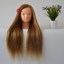 Mannequin Head For Eyelash Makeup Practice Golden Thick Hair Training Without Manikin Hairdressing Dolls