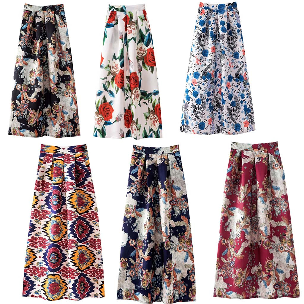 Multicolors 2020 Summer Skirts Ladies Spring And Summer Print Fashion Casual Skirt Retro Big Skirt Maxi Long Skirts   25