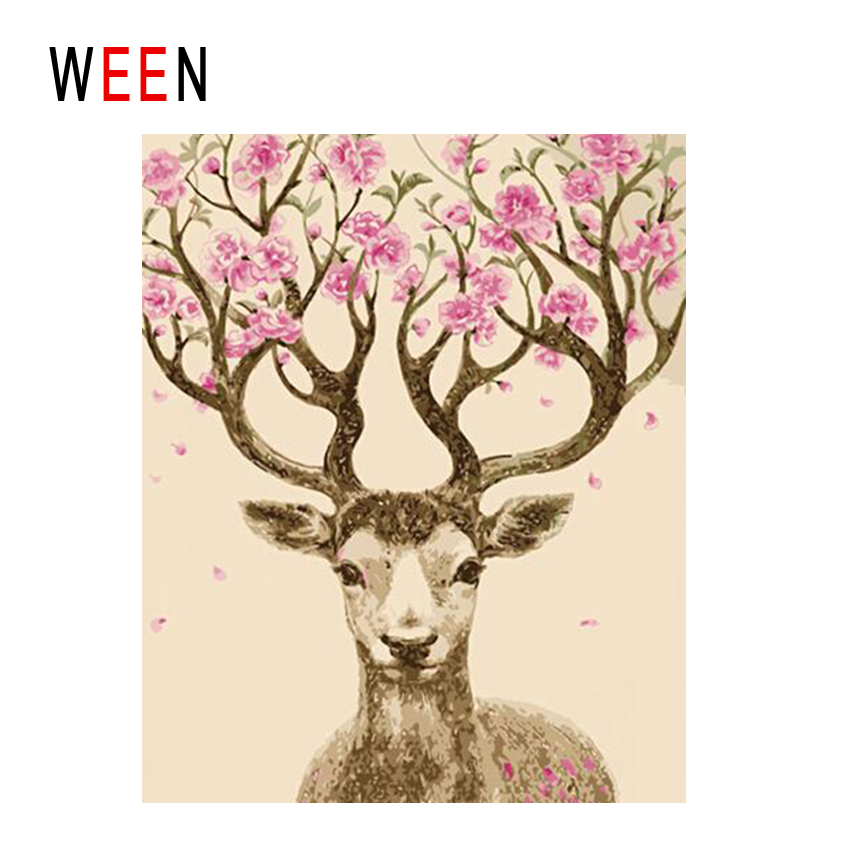 WEEN Deer Flower Diy Painting By Numbers Abstract Animal Oil On Canvas Cuadros Decoracion Acrylic Wall Art Home Decor