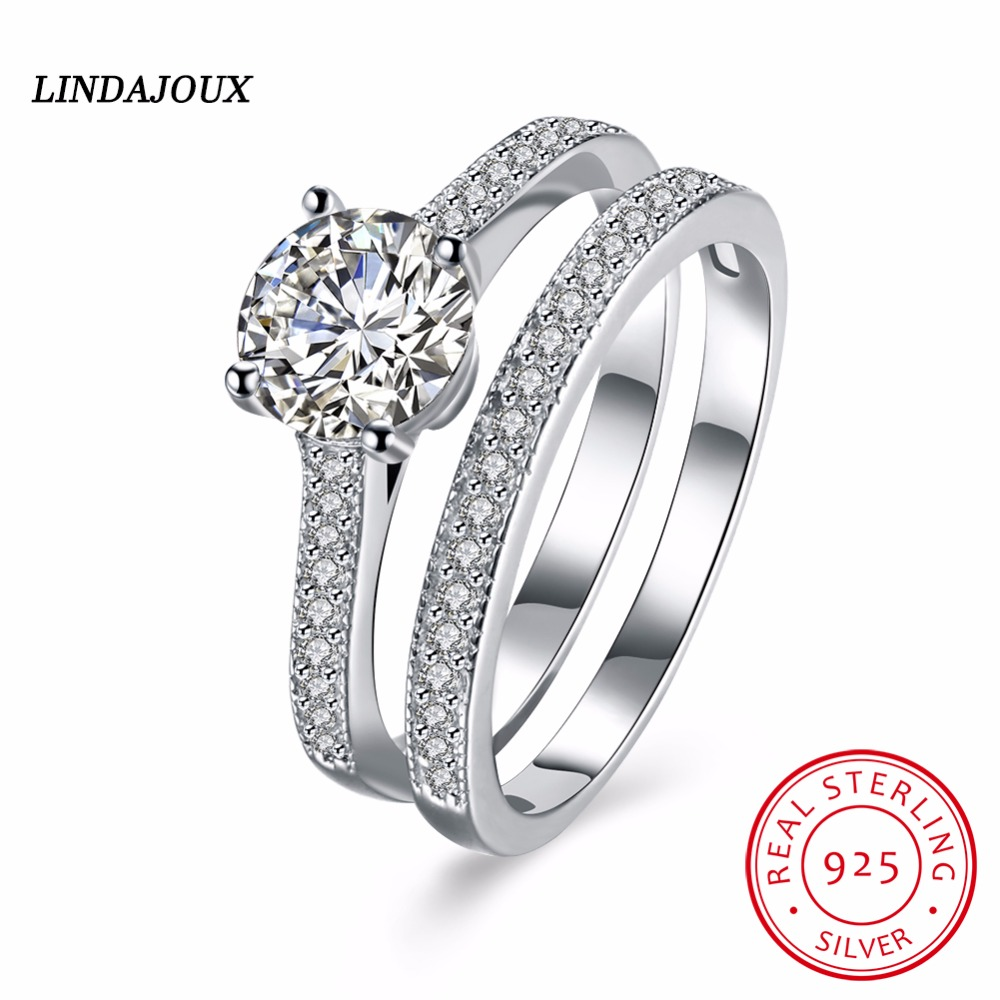 925 Sterling Silver Straight line Inlay Crystal Wedding Engagement Double Rings Ring for Women Fashionable Rings Charm Gift 2017