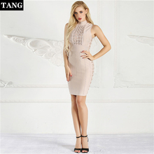 Tang 2019 New fashion summer wrap dress Striped High Quality Bandage Dress sexy vestidos elegant