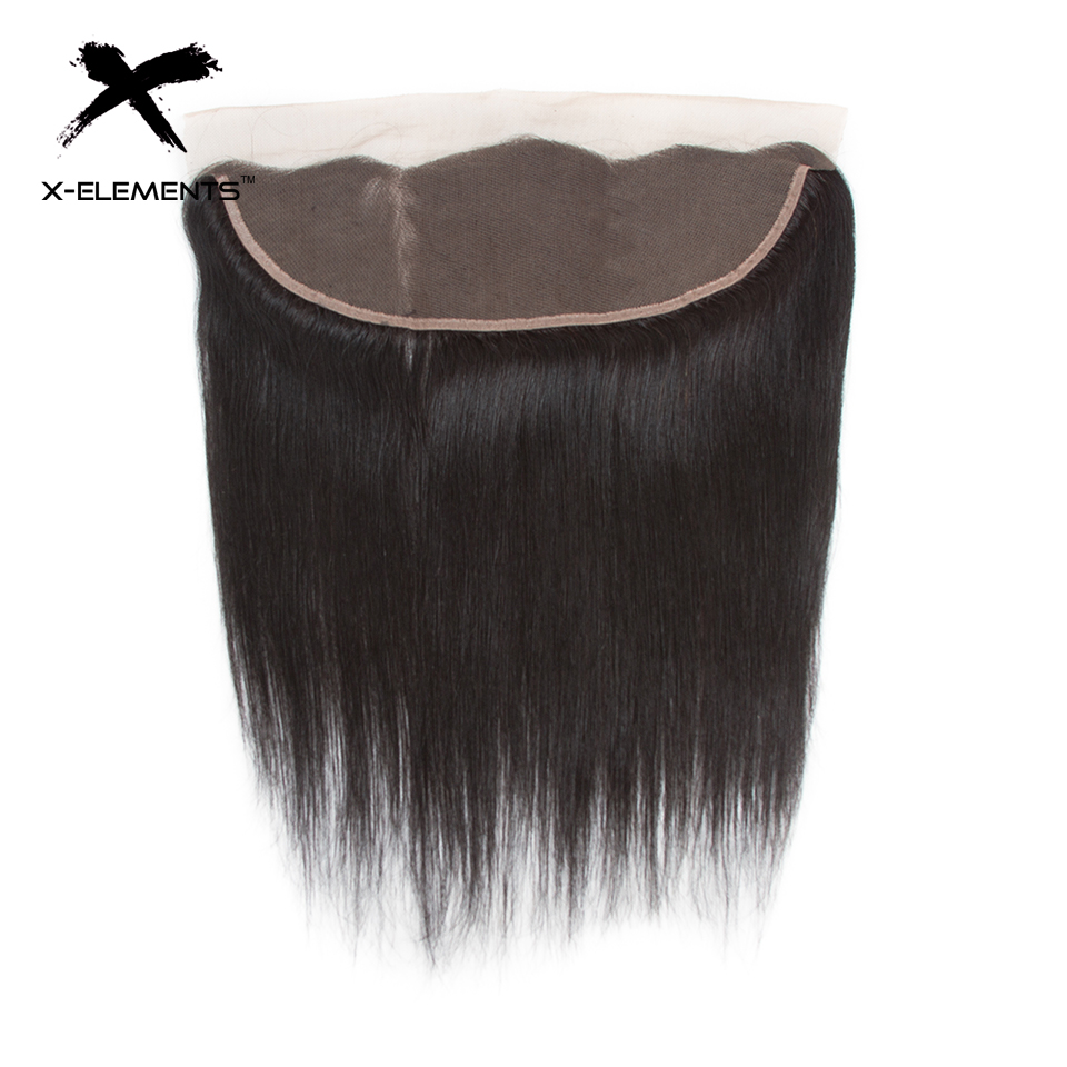 X-Elements Brazilian Straight Frontal 100% Human Hair 13x4 Lace Frontal With Baby Hair Non-Remy Natural Color Hair Extensions (16)