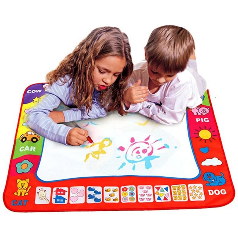 80X60 cm Niños del Dibujo del Agua Pintura Escribir Juguetes Doodle Tablero de Dibujo Mágico + 2 del Dibujo del Agua Aquadoodle Mat pluma Juguetes de Inteligencia