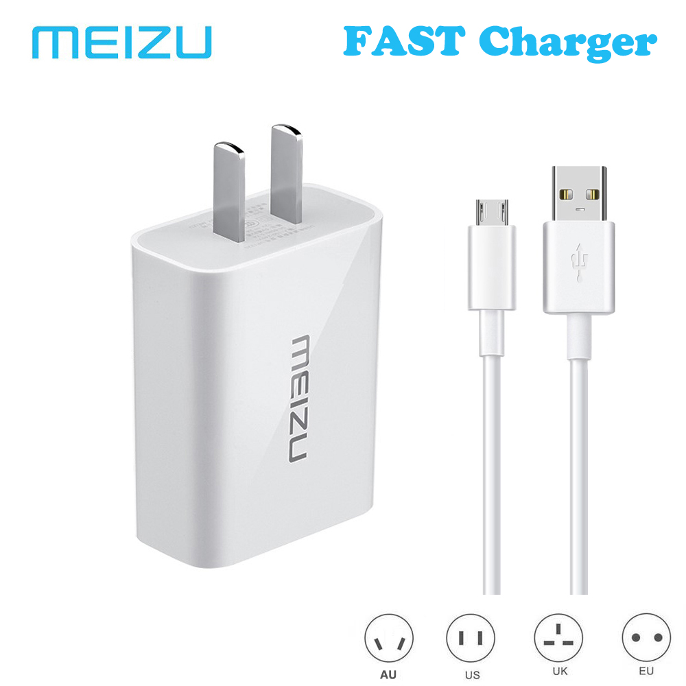 MEI ZU Fast Charger + Mocro-B USB Data Cable for MEI ZU MX5 mblu 6 E E2 MAX 5S NOTE5 NOTE6 Quick Charge