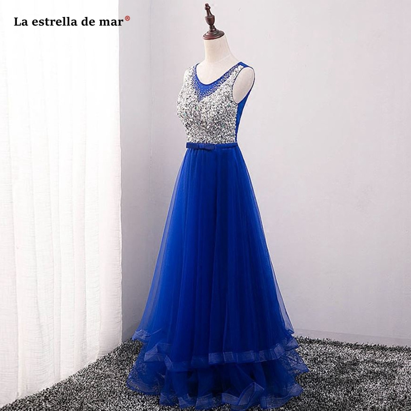 La estrella de mar real photo tulle crystal back A line royal blue bridesmaid dresses long vestido madrinha