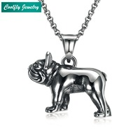 Punk Stainless Steel French Bulldog Pendant Necklaces For Men Retro Viking Antique Silver Plated Dog Soldier