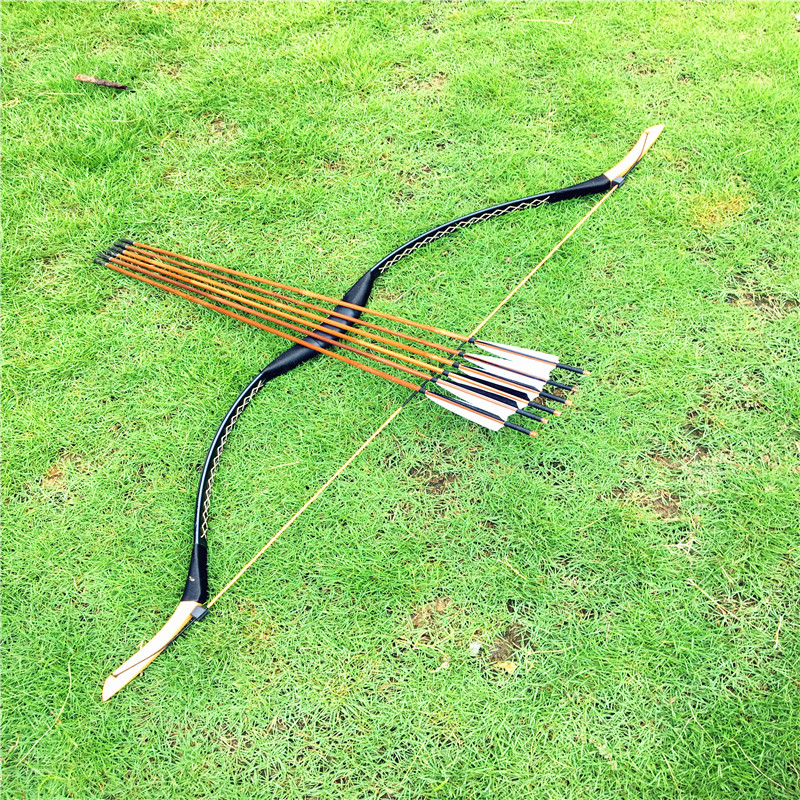 20 60lbs New Mongolian Bow Archery Handmade Hunting leather Longbow Recurve bow 6 black and whitebamboo