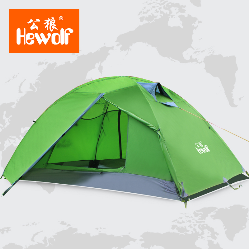 Hewolf four seasons outdoor double aluminum rod people camping against the heavy rain The wild camping tent outdoor double layer 10 14 persons camping holiday arbor tent sun canopy canopy tent