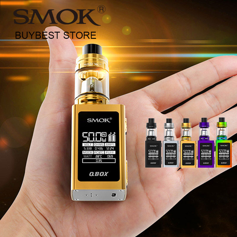 Originální 50W SMOK QBOX TC sada s 3ml Smok TFV8 baby Beast Tank a QBOX 1600mah baterie Box MOD E-Cigarety 50W vypařovací Kit