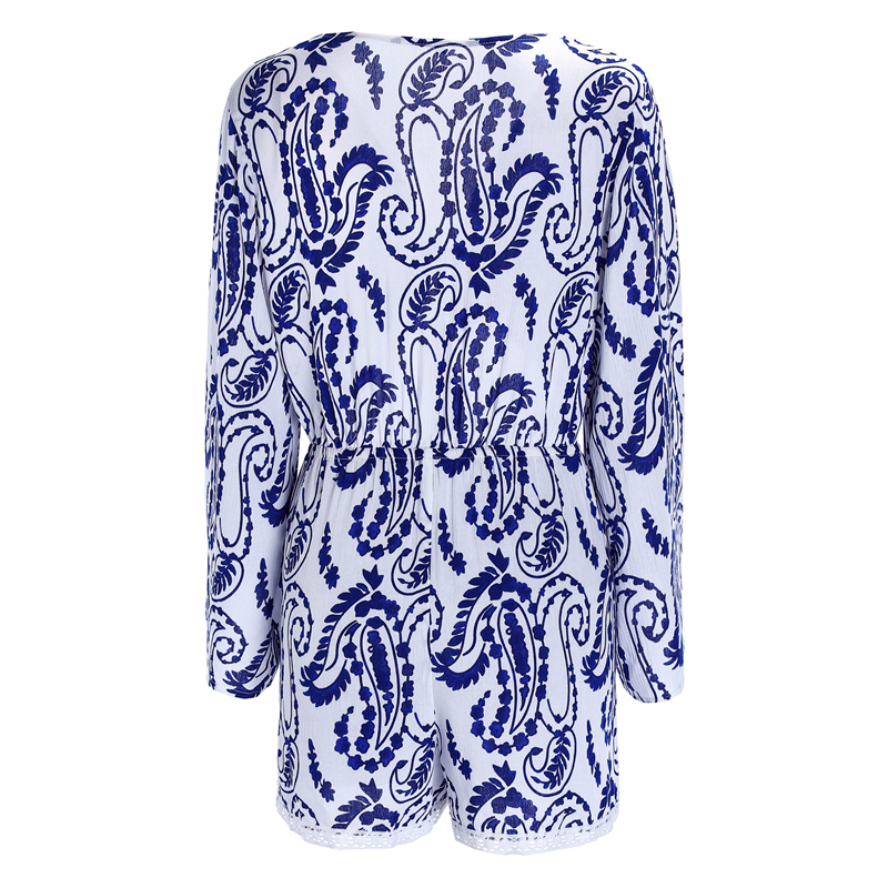 3deabd0367 2019 Sexy Paisley Floral Lace Women Playsuit Long Sleeve One Piece ...