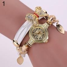 Hot Sales Women's Flower Butterfly Leaf Pandent Multi-Layers Bracelet Chain Wrist Watch