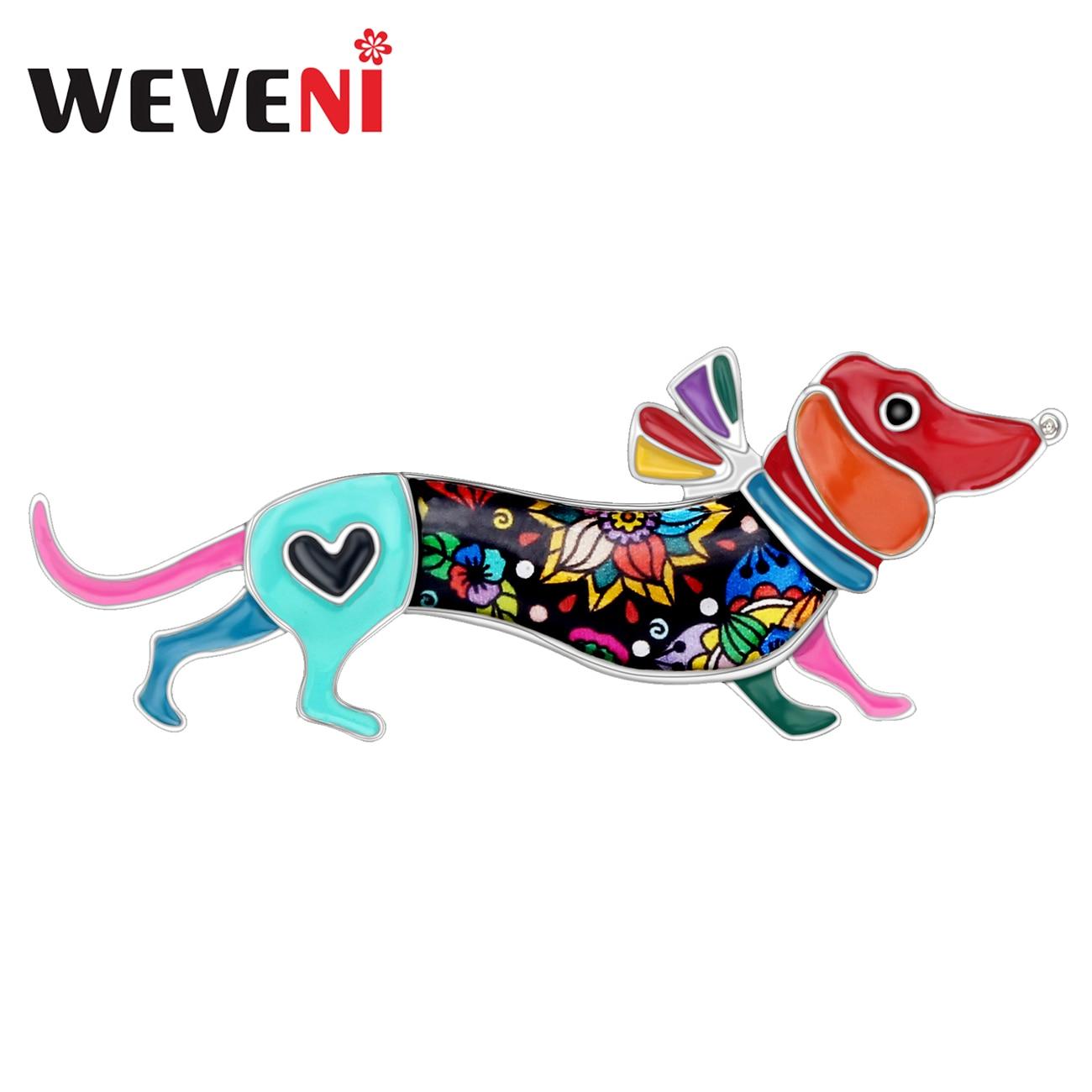 Enamel Alloy Rhinestones Dachshund Dog Brooch Silk Scarf Buckle Coat Western Ornament Badge Christmas New Year Gift