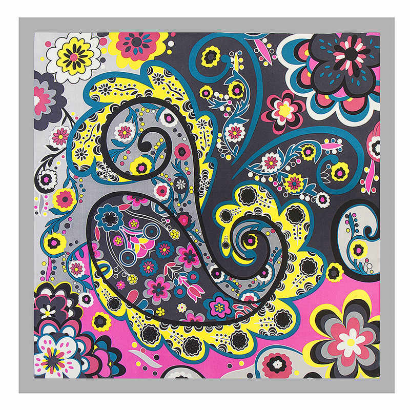 9b9f42513a7f0 2019 New Pansy Floral Painting Square Scarf Luxury Brand Silk Scarf ...
