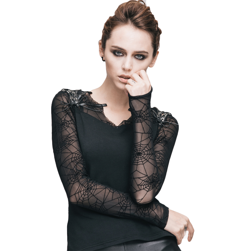Steampunk Female Close Fitting Cobweb T Shirt Spring Gothic Pattern Leather Mesh Women's T shirts Long Sleeves Top Clothing