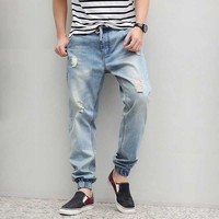 Denim Ripped Jeans Men Drawstring Plus Size Harem Jeans Hiphop Mens Baggy jeans Tapered Stretch Male Jeans M 6XL