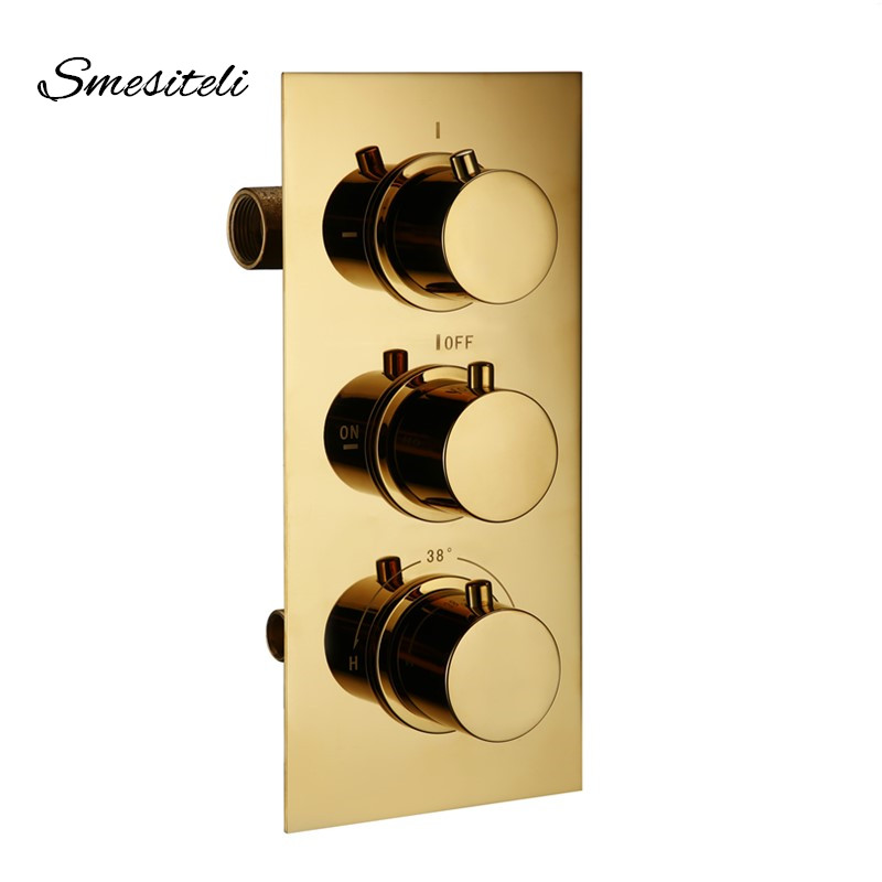 Thermostatic Mixing Valve For Shower Mixer With Diverter: Smesiteli Gold Brass 3 Dial 3 Way Thermostatic Control